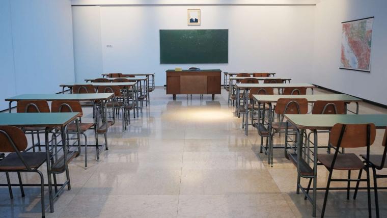 Desks in an empty school room