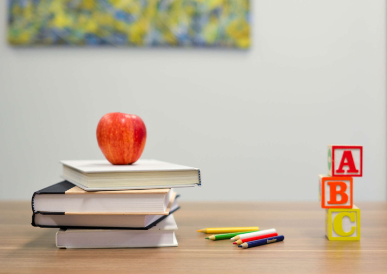 Teaching supplies on a wooden table